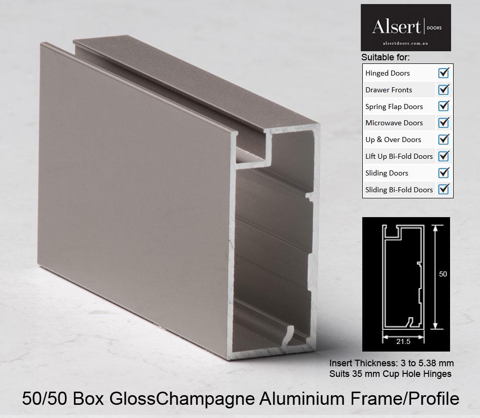 Gloss Champagne Aluminium Frames Alsert Doors